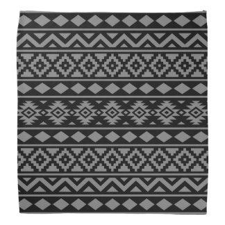 Aztec Essence Pattern III Grey on Black Bandana