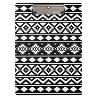 Aztec Essence Pattern III White on Black Clipboard