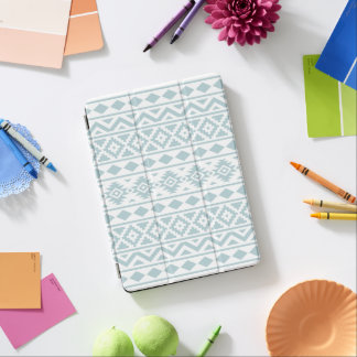 Aztec Essence Ptn III Duck Egg Blue on White iPad Air Cover