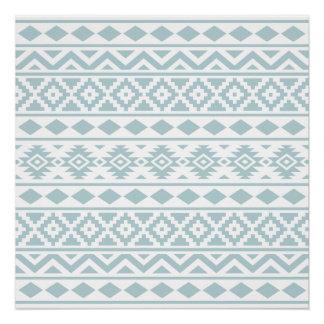 Aztec Essence Ptn III Duck Egg Blue on White Poster