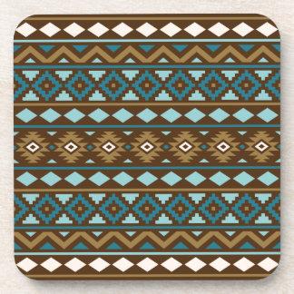 Aztec Essence Ptn III Teals Gold Cream Brown Coaster