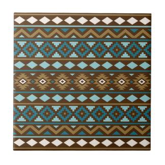 Aztec Essence Ptn III Teals Gold Cream Brown Tile