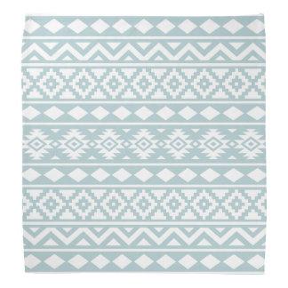 Aztec Essence Ptn III White on Duck Egg Blue Bandannas