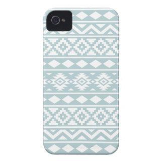 Aztec Essence Ptn III White on Duck Egg Blue iPhone 4 Case-Mate Case