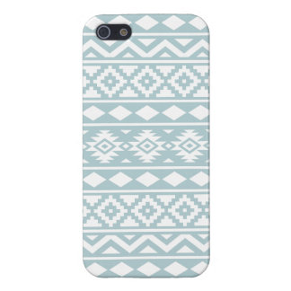 Aztec Essence Ptn III White on Duck Egg Blue iPhone 5/5S Cases