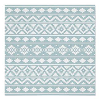 Aztec Essence Ptn III White on Duck Egg Blue Poster