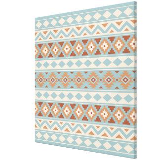 Aztec Essence Ptn IIIb Blue Cream Terracottas Canvas Print