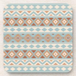 Aztec Essence Ptn IIIb Blue Cream Terracottas Coaster