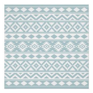 Aztec Essence Ptn IIIb Duck Egg Blue & White Poster