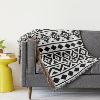 Aztec Essence (V) Pattern III Black on White Throw Blanket