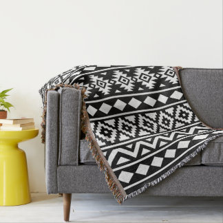 Aztec Essence (V) Pattern III White on Black Throw Blanket