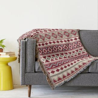 Aztec Essence V Ptn IIb Red Grays Cream Sand Throw Blanket