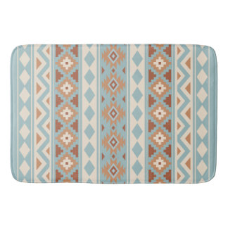 Aztec Essence V Ptn IIIb Blue Cream Terracottas Bath Mat