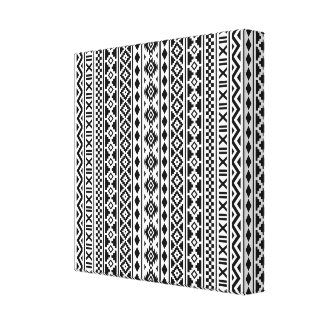 Aztec Essence Vertical Pattern Black on White Canvas Print