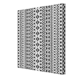 Aztec Essence Vertical Pattern Black on White Canvas Print