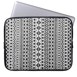 Aztec Essence Vertical Pattern Black on White Laptop Sleeve