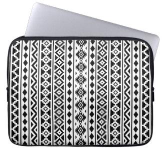 Aztec Essence Vertical Ptn II Black on White Laptop Sleeve