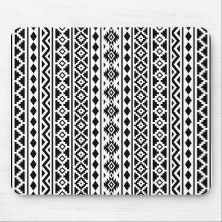 Aztec Essence Vertical Ptn II Black on White Mouse Mat