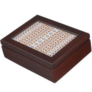 Aztec Essence Vertical Ptn II Rust Blue Cream Keepsake Box
