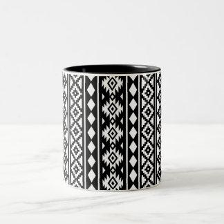 Aztec Essence Vertical Ptn II White on Black Two-Tone Coffee Mug