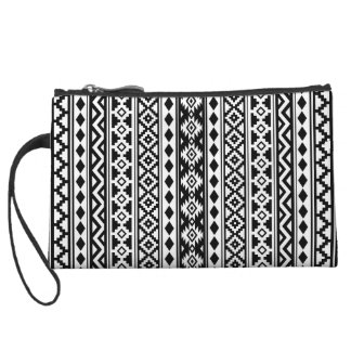 Aztec Essence Vertical Ptn IIb Black & White Wristlet