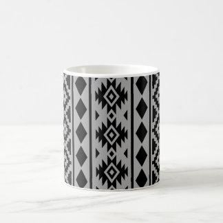 Aztec Essence Vertical Ptn III Black on Grey Coffee Mug