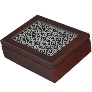 Aztec Essence Vertical Ptn III Black on Grey Keepsake Box