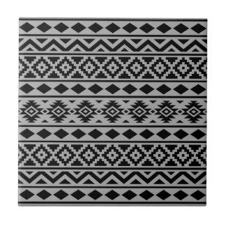 Aztec Essence Vertical Ptn III Black on Grey Tile
