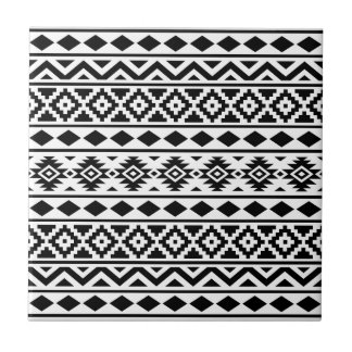 Aztec Essence Vertical Ptn III Black on White Tile