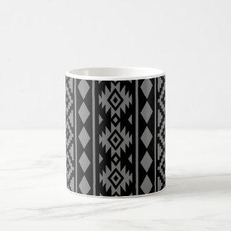 Aztec Essence Vertical Ptn III Grey on Black Coffee Mug