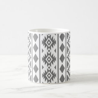 Aztec Essence Vertical Ptn III Grey on White Coffee Mug