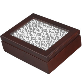 Aztec Essence Vertical Ptn III Grey on White Keepsake Box