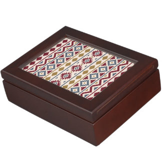 Aztec Essence Vertical Ptn III Red Blue Gold Cream Keepsake Box