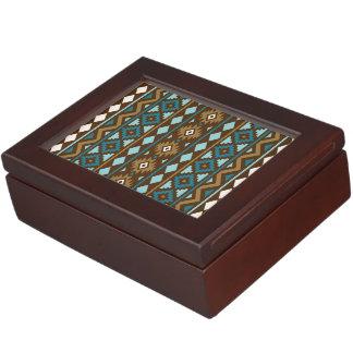 Aztec Essence Vertical Ptn III Teals Gld Crm Brwn Keepsake Box