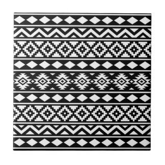 Aztec Essence Vertical Ptn III White on Black Tile