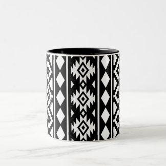 Aztec Essence Vertical Ptn III White on Black Two-Tone Coffee Mug