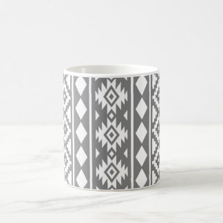Aztec Essence Vertical Ptn III White on Grey Coffee Mug