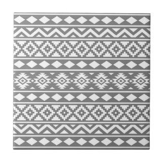Aztec Essence Vertical Ptn III White on Grey Tile