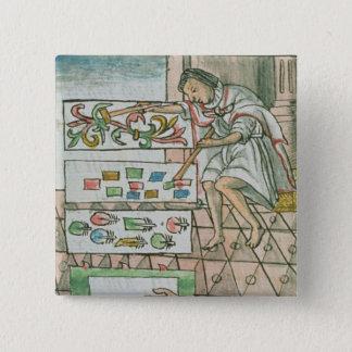 Aztec feather artisan 15 cm square badge
