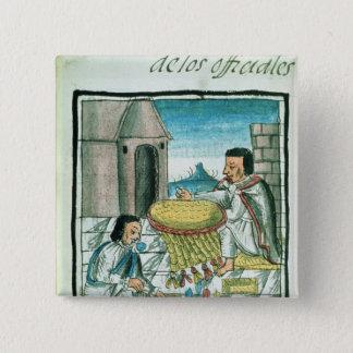 Aztec feather artisans at work 15 cm square badge