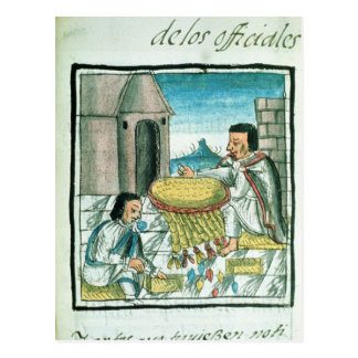 Aztec feather artisans at work postcard