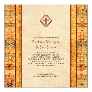 Aztec Fiesta Christian Cross Square Wedding Card