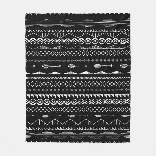 Aztec Geometric Black and White Abstract Pattern Fleece