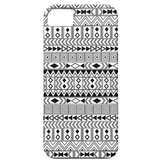 Aztec Geometric Black  pattern on White iPhone 5 Cases
