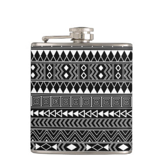 Aztec Geometric White pattern on Black Hip Flask