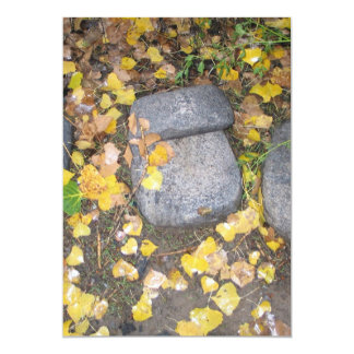 "aztec grinding stones with yellow fall leaves 5"" x 7"" invitation card"