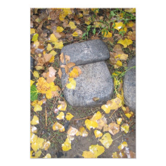 aztec grinding stones with yellow fall leaves invite