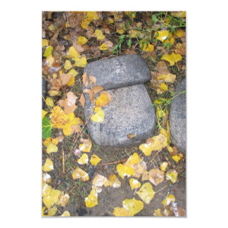 aztec grinding stones with yellow fall leaves 3.5x5 paper invitation card