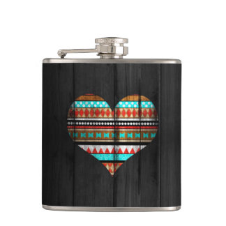 Aztec heart hip flask