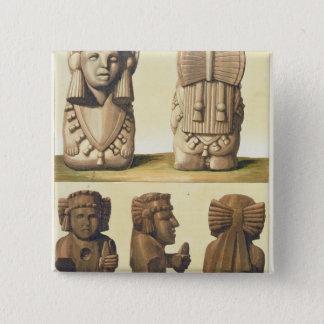 Aztec Idols, Mexico (colour lithograph) 15 Cm Square Badge